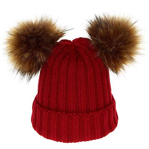 Mamum Bébé Bonnet Tricoté Enfants Garçon Filles Chaud Crochet Chapeaux Hiver Doux Turn-Up Tricot Ski Bonnet Skull Slouchy Caps (vin)
