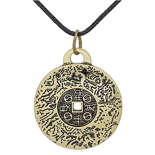 Lseqow Colgante de Yin Yang Feng Shui, Collar de Amuleto de Dinero de Feng Shui, Colgante de joyería de Estilo Retro, Collar de Amuleto de Moda, Bronce