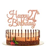 Happy 27th Birthday Cake Topper, Cheers to 27 Years, Hello 27, 27th Birthday/Anniversary Party Decorations Rose Gold Glitter.