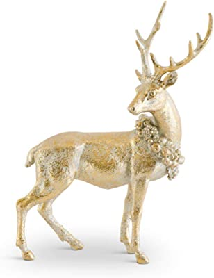 K&K Interiors Gold 8.75 Inch Antique Resin Deer Facing Right