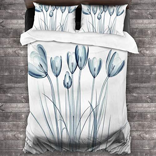 BEITUOLA Juego de Funda nórdica,Tulipanes de Flores con Estampado de Efecto Solar,1 Funda de Edredón y 2 Fundas de Almohada 240 x 260cm