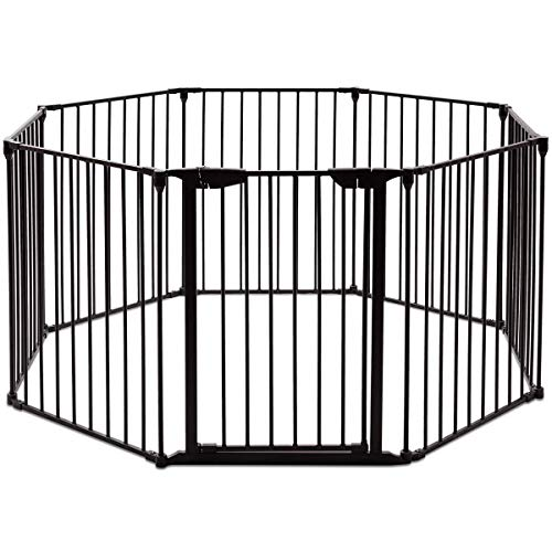 Costzon Baby Safety Gate, 4-in-1 Fireplace Fence, 204-Inch Wide Barrier with Walk-Through Door in Two Directions, Add/Decrease Panels Directly, Wall-Mount Metal Gate for Pet & Child (Black, 8-Panel)