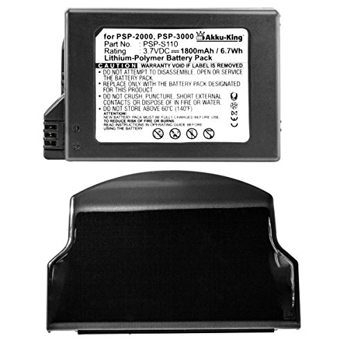 Akku-King Akku kompatibel mit Sony PSP-S110 - Li-Polymer 1800mAh - mit Akkudeckel - schwarz - für Playstation Portable Lite, Slim, PSP 2th, PSP-2000, PS