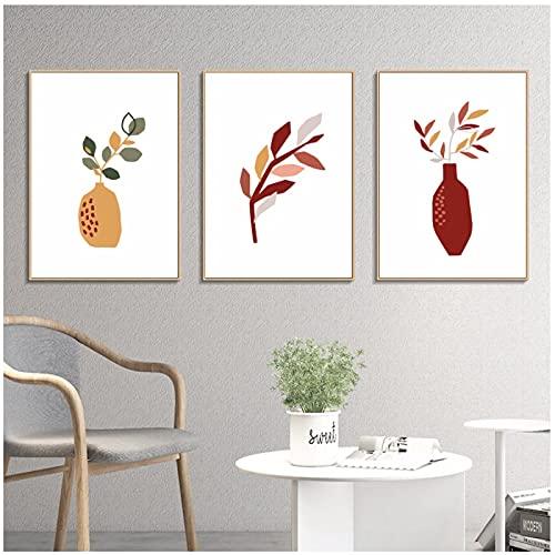 Lefgnmyi Pintura de decoración boho para interior minimalista jarrón arte de pared impresiones decoración de la habitación del hogar póster imagen para el hogar-20x28 INx3 piezas sin marco