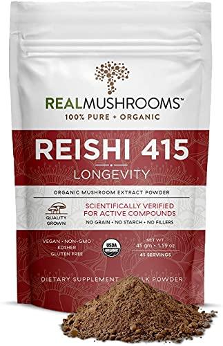 Real Mushroom Reishi Mushroom Powder for Longevity (45 Servings)...