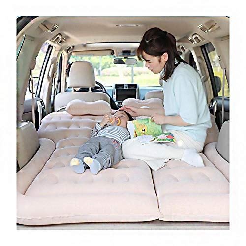 MGIZLJJ Air Bed, SUV Air Mattress Camping Bed with Electric Air Pump & Pillow Storage Bag, Thickened Inflatable Air Pad for Winter Trip, Waterproof Flocked for Indoor Outdoor Travel Hiking,Beige