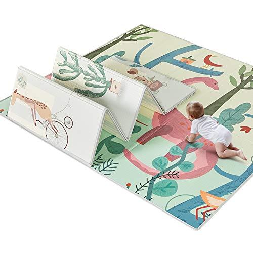 XJJUN Suelos De Gimnasio Alfombra De Gateo Bebé Plegable Protección del Piso Interior PU Antideslizante Impermeable La Seguridad, 4 Colores (Color : D-200x180x1cm)