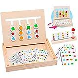 Zaloife Juguetes Montessori de Madera Puzzles de Color Tablero con Tarjetas de Patrón y Disco, Juego Educativos Niños, Juego de Regalo de Cumpleaños Rompecabezas para Niños 3 4 5 Años