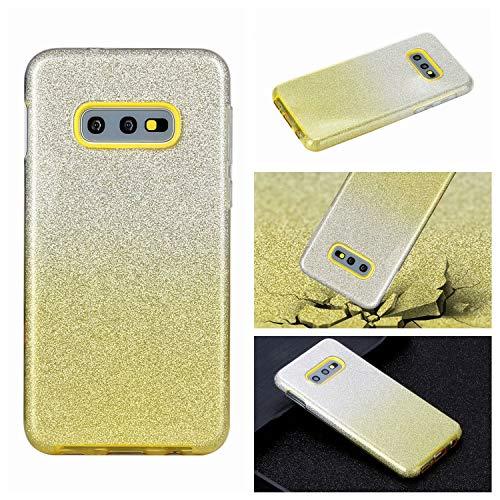 Nadoli für Samsung Galaxy S10e Gradient Glitzer Hülle,3 Schicht Glänzende Stoßfest Silikon Stoßdämpfung Transparent Hart Hybride Dünn Glitzer Schutzhülle Handyhülle