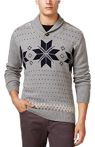 Weatherproof Mens Vintage Fair Isle Long Sleeves Shawl-Collar Sweater Gray XL