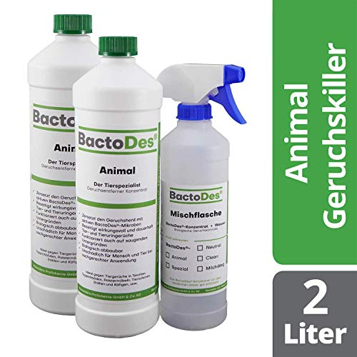 BactoDes Animal Tier Geruchsentferner Konzentrat - 2 x 1 Liter inkl. Mischflasche - Geruchskiller bei Katzenurin, Hundeurin und Kleintiere