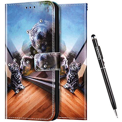 Uposao Kompatibel mit Samsung Galaxy A7 2018 Hülle Leder Handyhülle Glitzer 3D Bling Strass Diamant Wallet Hülle Klapphülle Brieftasche Schutzhülle Flip Case Magnetisch Kartenfach,Katze Tiger