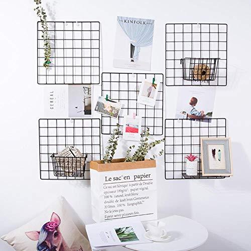 Bricolaje, rejilla de hierro, estante de pared, decoración para colgar en la pared, arte de exhibición de pared, foto, pared, marcos de fotos