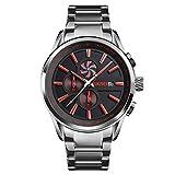 Steel Band 30ATM Reloj de negocios impermeable para correr segundos, relojes de cuarzo clásicos de moda para hombres, calendario / cronógrafo, reloj de pulsera multifunción para deportes al aire libre