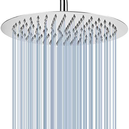 25 cm Runden Regenbrause - Voolan Kreisförmiger Hochdruck Duschkopf aus Edelstahl 304 - komfortables Duscherlebnis auch bei niedrigem Wasserdruck - installierbar an der Wand oder Decke (Chrom)