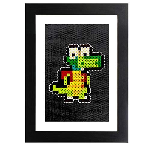 Croc 8bit Pixel Character Bead Framed Print