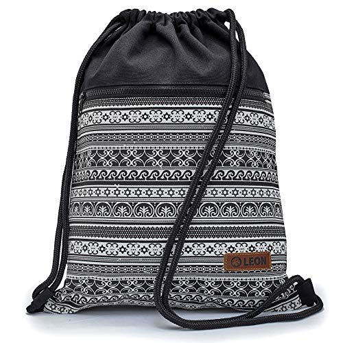 By Bers LEON Turnbeutel mit Innentaschen in Schwarz-Weiß Rucksack Tasche Damen Herren & Teenager Gym Bag Draw String (Stars&Waves)