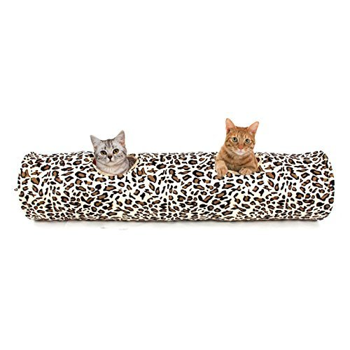 PAWZ Road Cat Tunnel Toy for indoor cats collapsible with 2 holes Leopard print 25 * 126cm