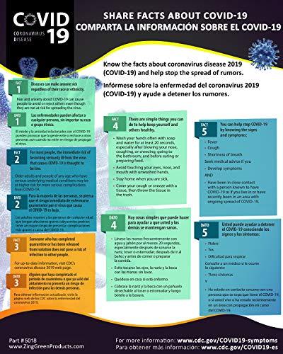 ZING'Coronavirus (COVID-19) 16''x20'' Poster - Share The Facts, Bilingual English/Spanish'