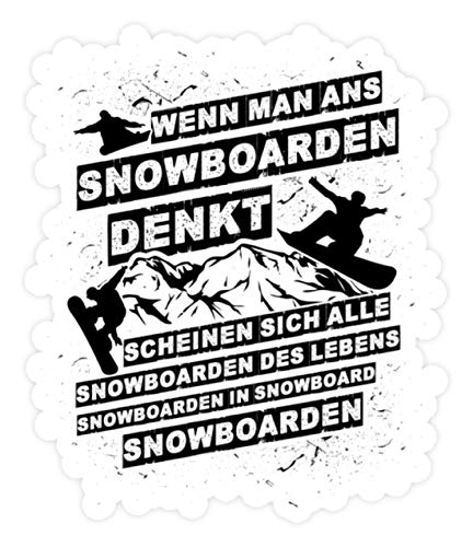 shirt-o-magic Aufkleber Snowboarder: An Snowboarden denken - Sticker - 20x20cm - Weiß