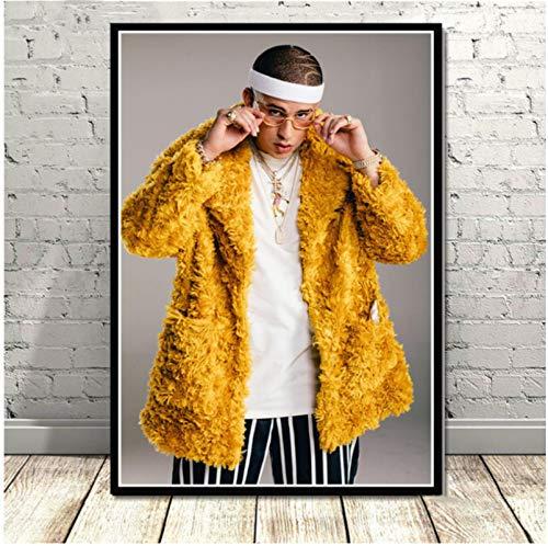 HIOJDWA Nuevo Bad Bunny Rapper Hip Hop Music Singer Star R&B Poster Prints Pintura Arte Cuadros De Pared para Sala De Estar Home Club 50 * 70Cm Sin Marco