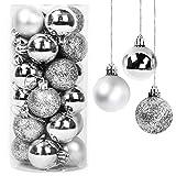 Yisscen Bolas de Navidad Decoraciones para árboles, Bolas para árboles de Navidad, Bolas decorativas para Navidad, Bolas decorativas con purpurina mate y brillante, Bola de decoración de fiesta, 24pcs