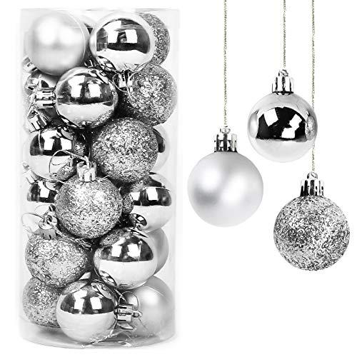 Yisscen Weihnachtskugeln Baumschmuck, Christbaumkugeln, Dekokugeln Weihnachten, Matt Glänzend Glitzernd Dekokugeln, Baumkugeln für Weihnachten Hochzeitsfest Dekoration, 24 Stück (Silber)