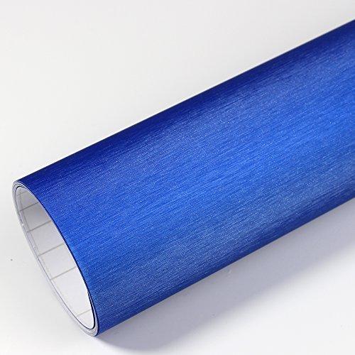Rapid Teck® 5,26€/m² Premium – Aluminium Alu gebürstet Blau 50cm x 1,52m Auto Folie Blasenfrei mit Luftkanälen für Auto Folierung und 3D bekleben in Matt Glanz und Carbon Autofolie
