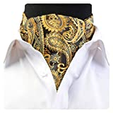 GUSLESON Men's Gold Cravat Self Tie Paisley Jacquard Woven Floral Ascot (UK0602-05)