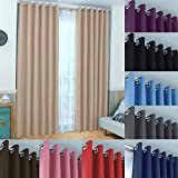 John Aird Eyelet Thermal Energy Saving Blackout Curtains + Free Tie Backs (Natural, 117cm Width x 137cm Drop (46'x 54')