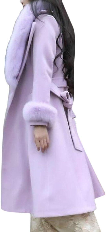 Hajotrawa Womens Winter Faux Fur Lapel Outwear WoolBlend One Button Pea Coat