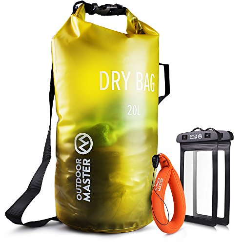 OutdoorMaster Dry Bag Waterproof Bag Compression Sack with 2 Cell Phone Cases Kayak Accessories Waterproof Backpack for The Beach Boating Fishing Kayaking Swimming Rafting Yellow 10L