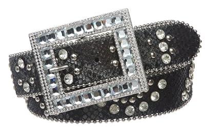 1 1/2 Snap On Cowgirl Rhinestone Studded Python Print Rectangular Leather Belt Size: M/L - 38 Color: Black