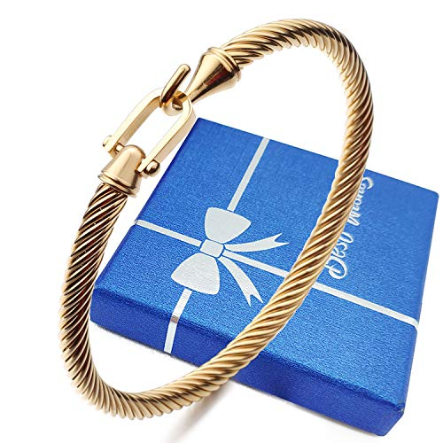 HX SHARE Twisted Cable Bracelet Stylish Fine Stainless Steel Cable Cuff Bracelet with Hook Clasp Bracelets Jewelry for Women (18K Gold(6.7'))