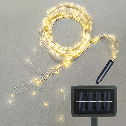 Soltuus Solar Powered 180 LED String Fairy Lights, Multi Strand Watering Can Light Outdoor, 800mA Solar Panel Waterproof Timbo String Lights, Warm White Firefly Bunch Lights