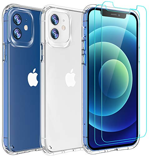 AEDILYS Compatible with iPhone 12 mini Case (2020),[Airbag Series] with [2 x Tempered Glass Screen Protector] [ Military…