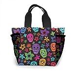 N/A Bolsa de almuerzo de flores y calaveras coloridas con aislamiento reutilizable para picnic, para hombres, mujeres, adultos, niños, enfermeras