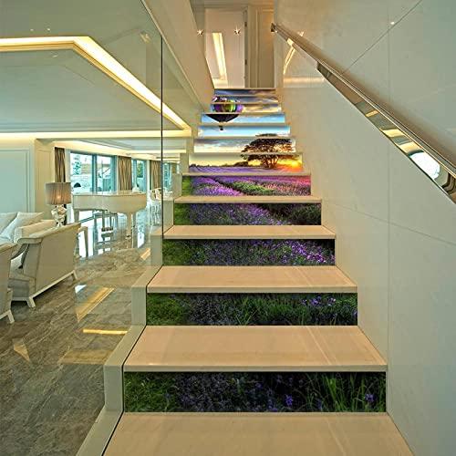 tzxdbh losetas vinilo para escaleras Colorido globo aerostático pastoral 100CMx18CMx13pieces(39.3'w x 7'h x 13pieces) Escalera de moqueta autoadhesiva, Calcomanías para escaleras 3D Cocina Piso Decora