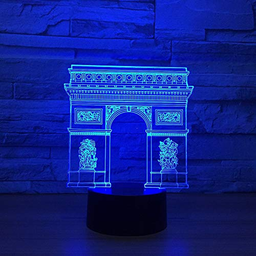 Arc de Triomphe 3D Nachtlicht für Kinder Jungen Mädchen Geschenk 3D Illusionslampe für Schlafzimmer neben Tisch, 16 Farbwechsel LED Stimmungslampe Schreibtisch Tischlampe Kinder Geschenk