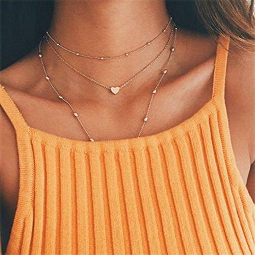 Elistelle Damen Halskette Choker Mehrreihig Kette mit Anhänger Halsband Kette Gold