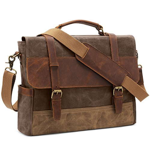 Kattee Men's Leather Canvas Messenger Bag Briefcase Retro Satchel Shoulder...
