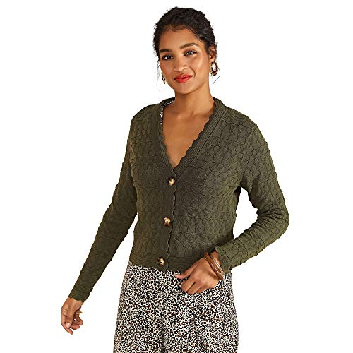 YUMI vrouwen Pointelle Stitch vest met oversized trui