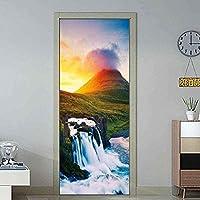 壁纸壁画3Dドア壁纸自己接着性インテリアドアポスター山と川Diy寝室装饰ドア壁纸-77X200Cm-77x200厘米