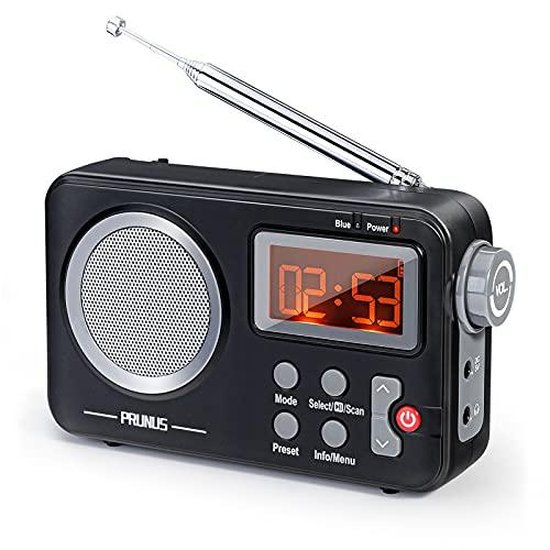 PRUNUS J-409 DAB Radio, Tragbares UKW Digitales Radio, Bluetooth Lautsprecher Radio mit Preset-Funktion, Zeit-Funktion, Ausgestattet mit Einem Großen Display und Großen Tasten