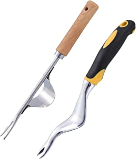 umorismo 2 Pack Hand Weeder Tool Garden Weeding Tool Dandelion Remover Tool Manual Weed Puller for Garden Lawn Farmland Tr...