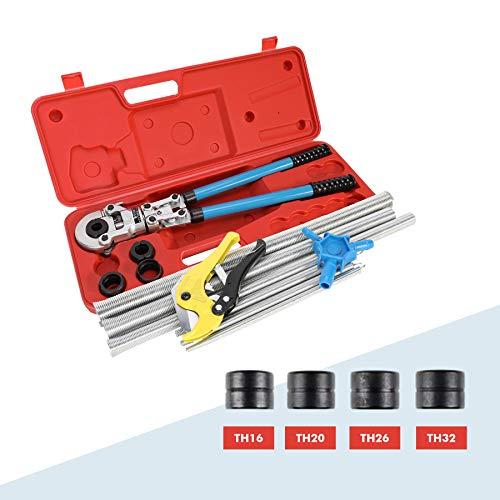 CO-Z Rohrpresswerkzeug-Set für Rohrverschraubungen 16 bis 32 mm, Crimpzange, Kalibrator, Schere, 6 Torsionsfedern, Trennen und Verbinden von Kunststoff, Kupfer, Verbund, Stahlrohren
