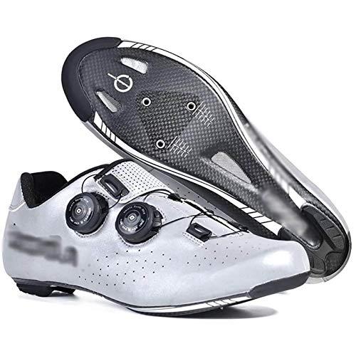 WDZJM Zapatos de Ciclismo, Moda para Hombres y Mujeres al Aire Libre Antideslizante Reflectante de Seguridad de Seguridad con Fibra de Carbono Zapatos de Ciclismo Profesional,