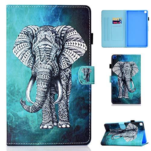 CaseFun Custodia per Samsung Galaxy Tab S6 Lite 10.4 P610/P615 Flip Custodia a Libro Smart Cover in Pelle Wallet Magnetico Multi-Angolo conla Tasca, Elefante