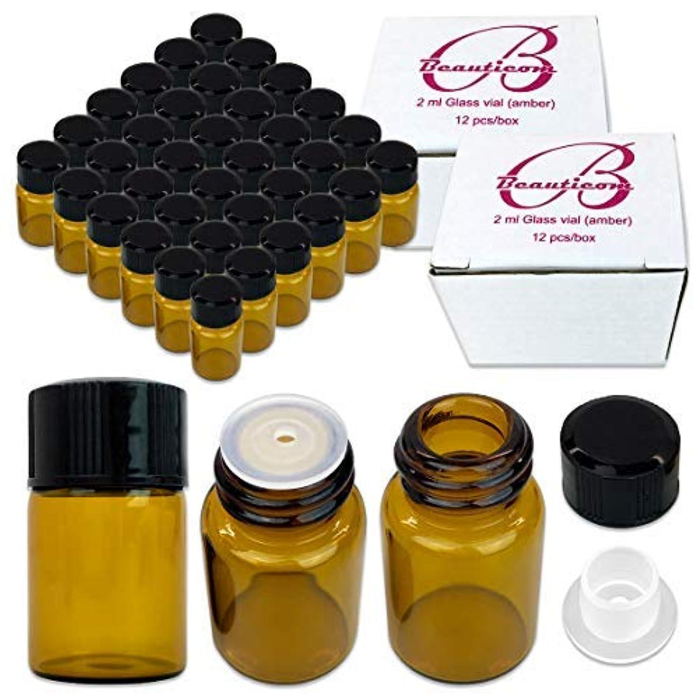 カストディアン閃光ご予約72 Packs Beauticom 2ML Amber Glass Vial for Essential Oils, Aromatherapy, Fragrance, Serums, Spritzes, with Orifice Reducer and Dropper Top [並行輸入品]