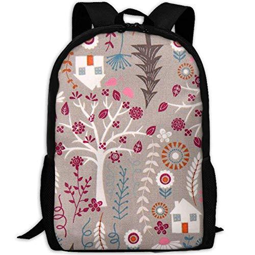 Vintage Grey House In The Forest Animal College Laptop Backpack Student School Bookbag Rucksack Travel Daypack